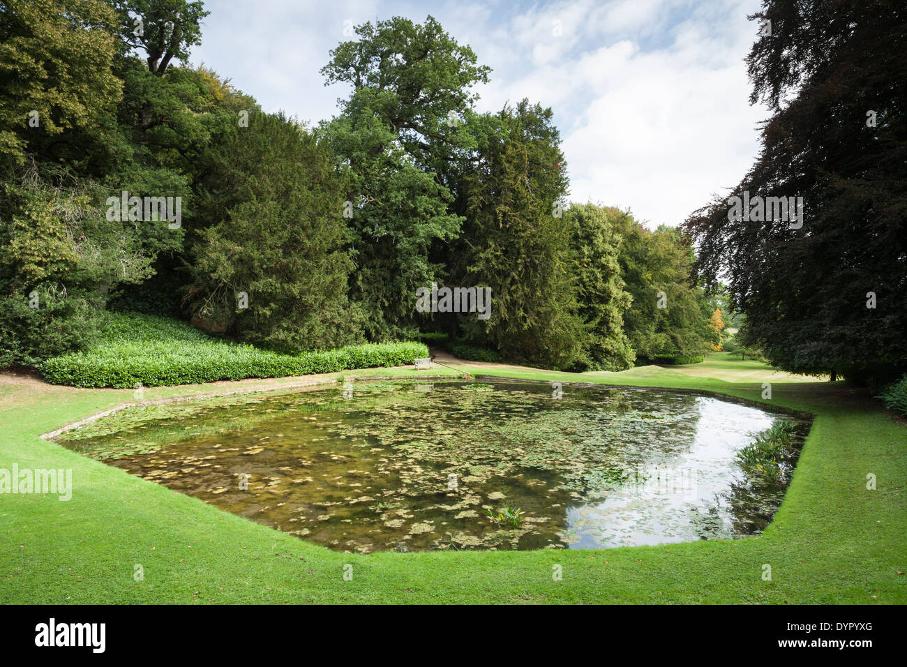 A Slightly Elevated View Of The Large Ornamental Octagonal Pond In Venusu0027  Vale, Rousham House Gardens, Oxfordshire, England