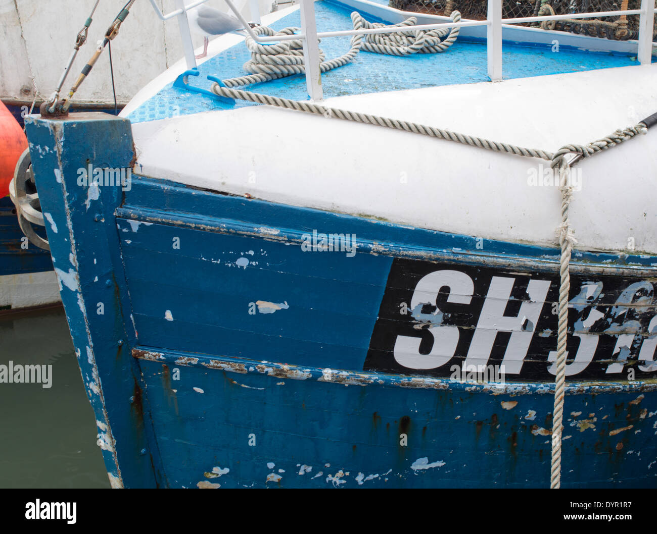 Close up study of the front of a traditional fishing boat Stock Photo