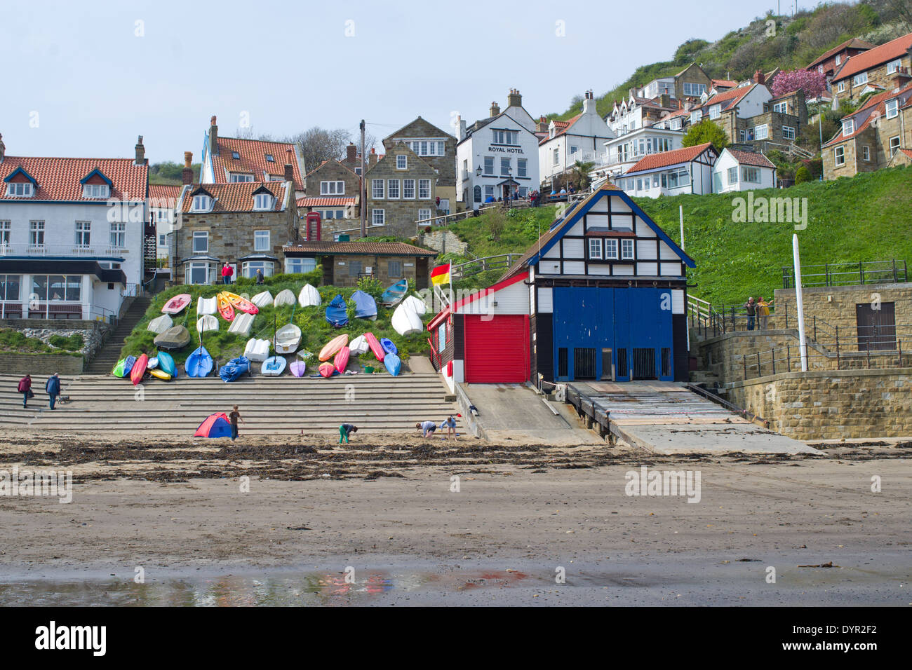 Runswick Bay near Whitby a traditional small fishing village with old fishermans cottages. Stock Photo