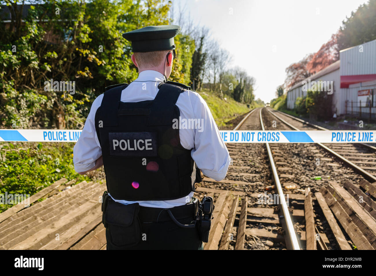 Lurgan, Northern Ireland. 24 Apr 2014 - A person has been killed after they were struck by a train.  No further Stock Photo