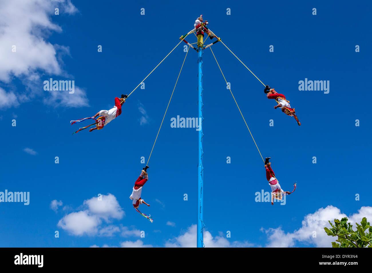 Papantla Flying Men, Tulum, Mexico - Stock Image