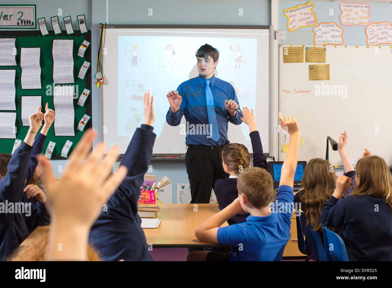 Year Four French lesson at Two Waters Primary School in Hemel Hempstead, Hertfordshire, England, UK - Stock Image