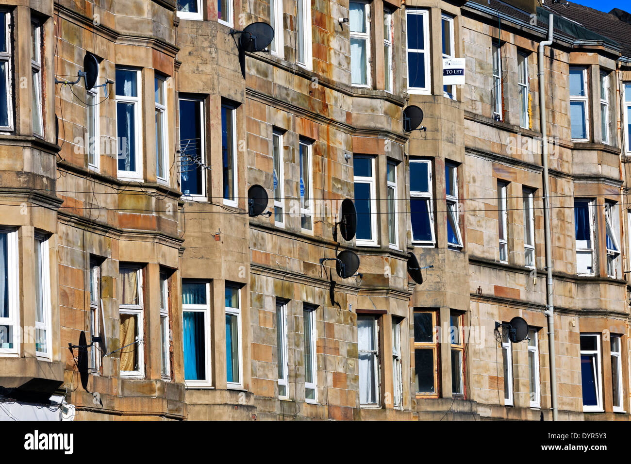 Glasgow tenements in grey sandstone, Scotland , UK Stock Photo