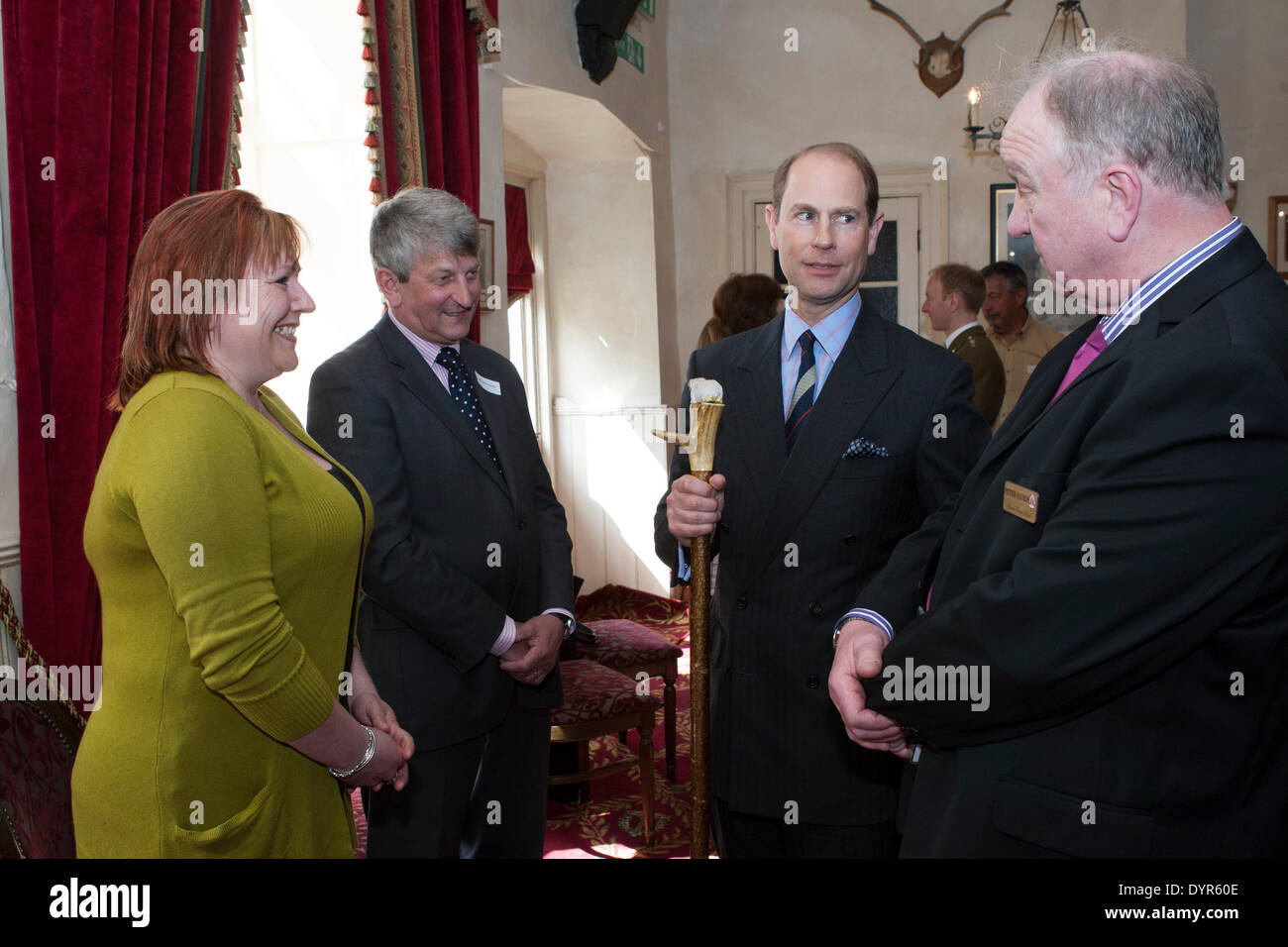 Coleford, Gloucestershire, UK. 24th Apr, 2014. Peter Hands of Speech House Hotel present Mr Nick Horton and Samm Jarman to HRH The Countess of Wessex. Mr Hortons company Roya;l Forest Pennant donated repairs to the scheduled monument which marks the center of the historic forest. Credit:  David Broadbent/Alamy Live News - Stock Image