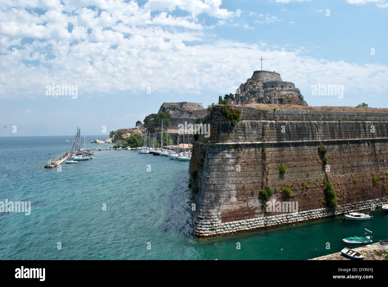 View of the old Venetian fortress in Corfu Stock Photo