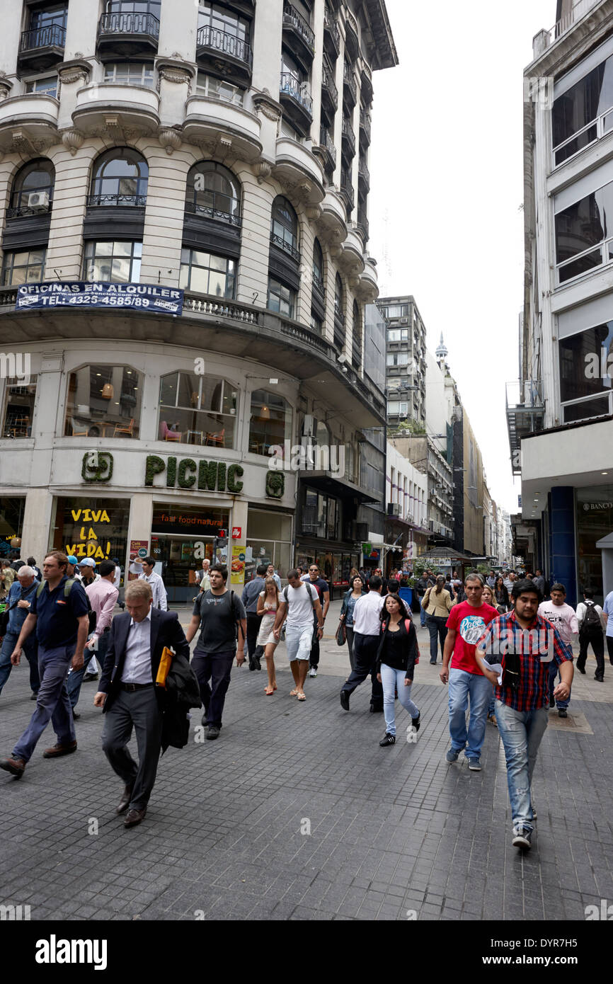 busy shopping area of calle florida street downtown Buenos Aires Argentina - Stock Image