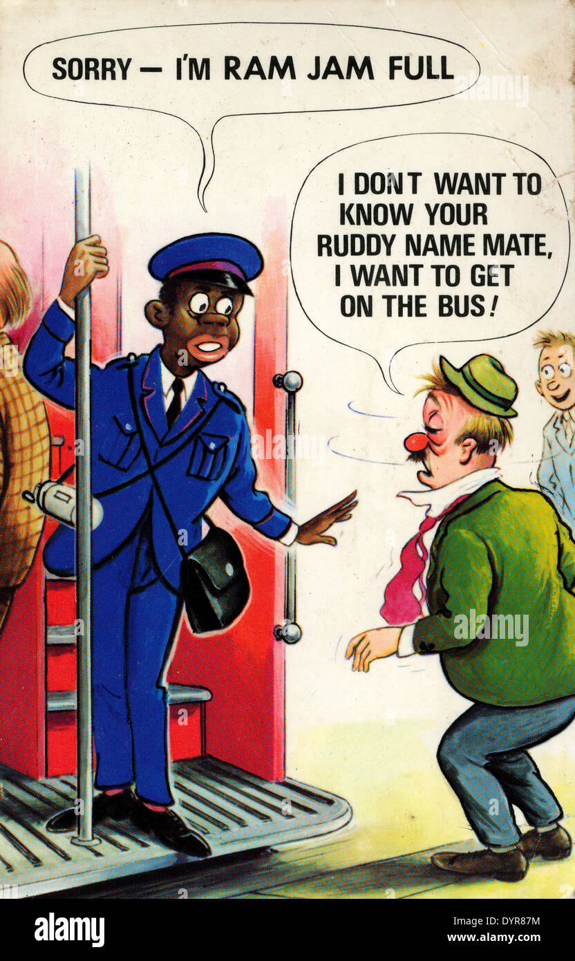 Vintage postcard London bus conductor 1950s  KATHY DEWITT - Stock Image