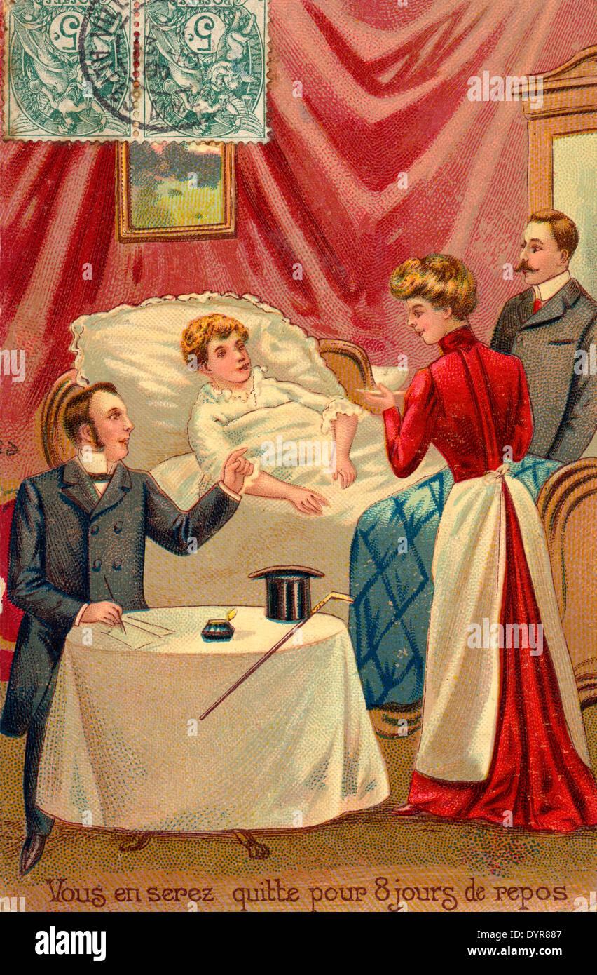 French Postcard 1907 Vous En Serez Quitte Pour 8 Jours De Repos Doctor And