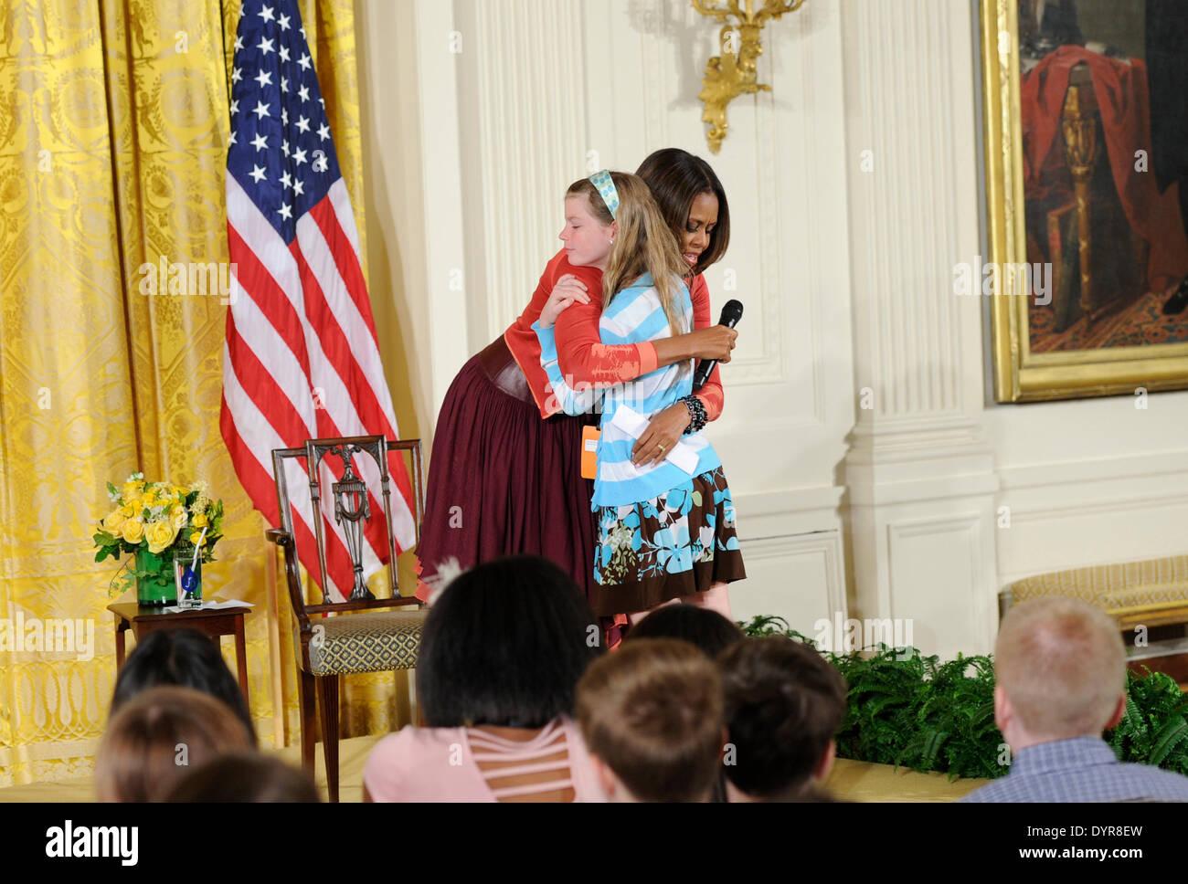washington usa 24th apr 2014 u s first lady michelle obama hugs