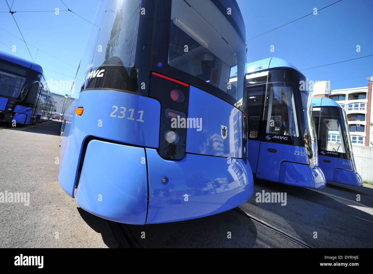 'Variotram' streetcars in the depot of MVG, 2011 - Stock Image