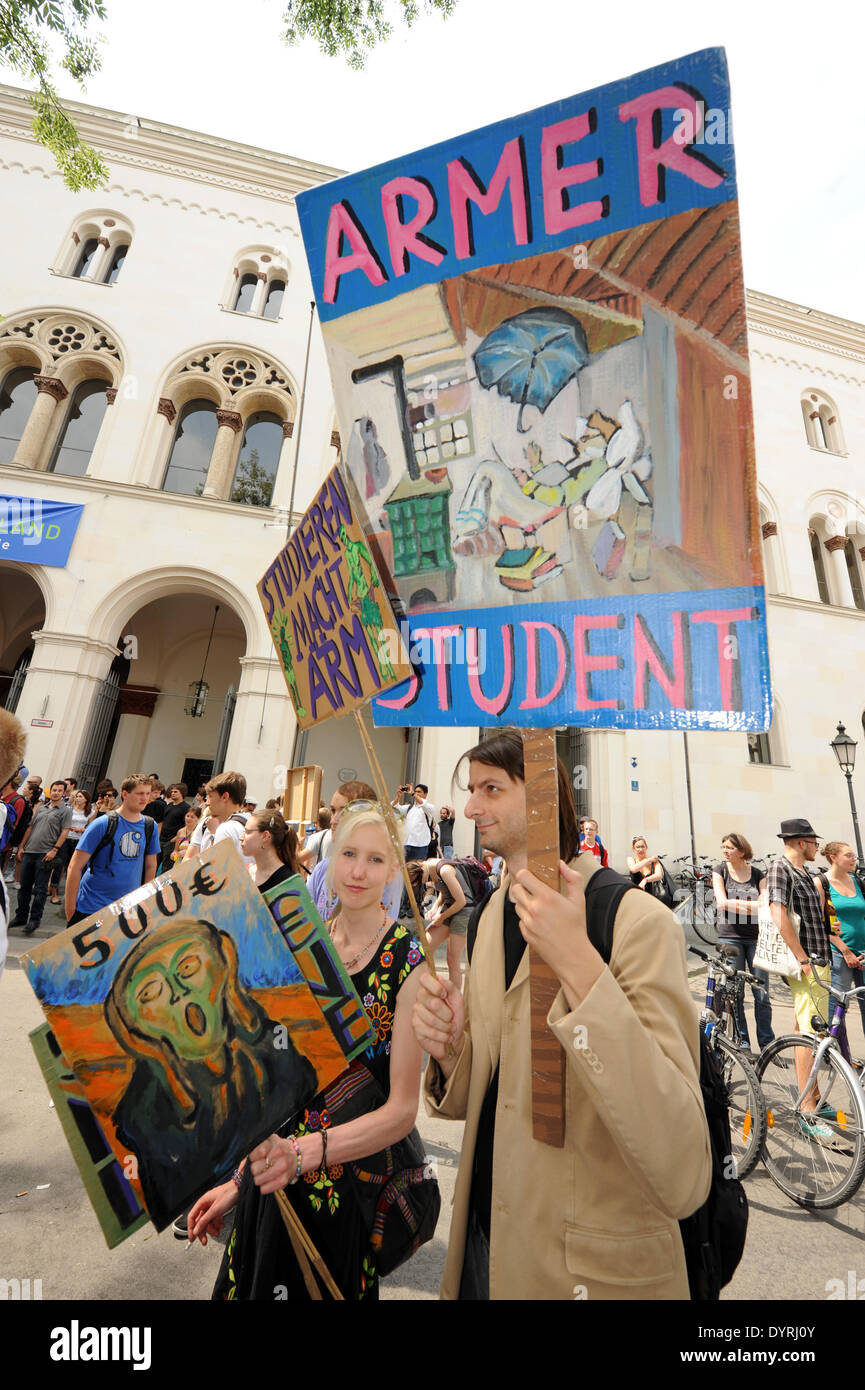 Protest against tuition fees in Munich, 2011 - Stock Image