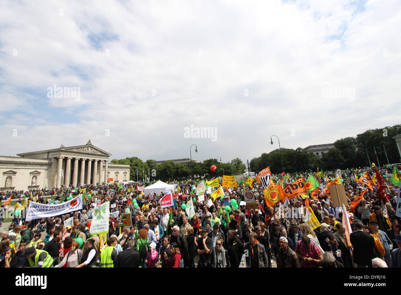 An anti-nuclear demonstration in Munich, 2011 Stock Photo