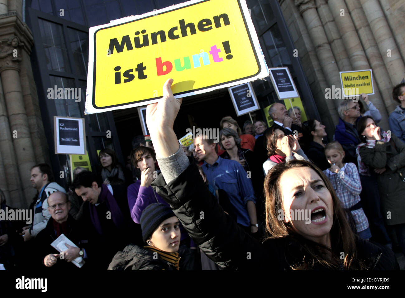 Citizens of Munich demonstrate against the neo-Nazi 'Heroes Memorial March', 2010 Stock Photo