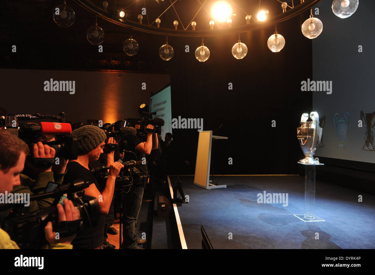 Handover of the Champions League trophy to Christian Ude in Munich, the host city for the season's finals, 2012 - Stock Image
