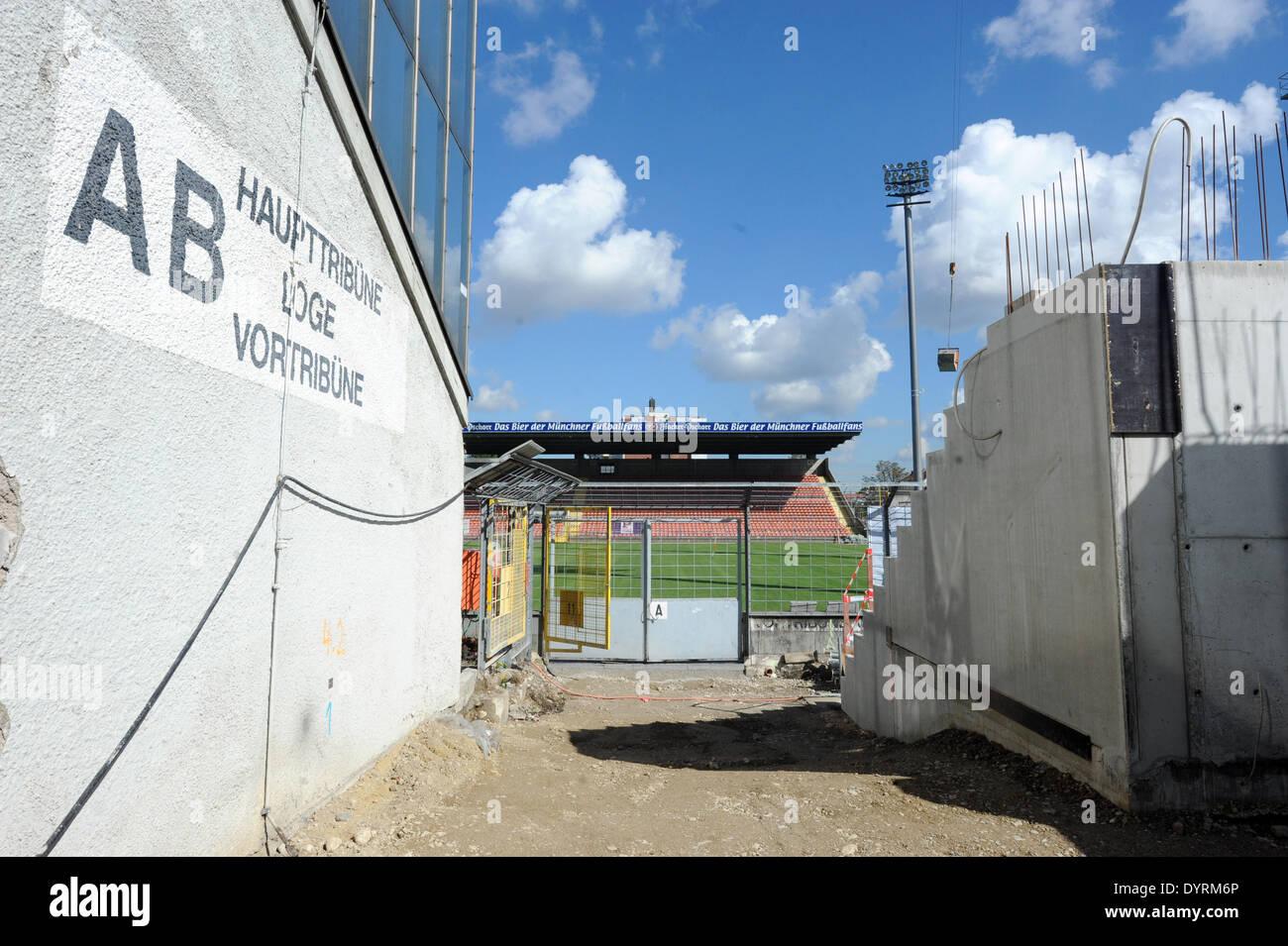 Renovation of the Gruenwalder Stadion in Munich, 2012 - Stock Image