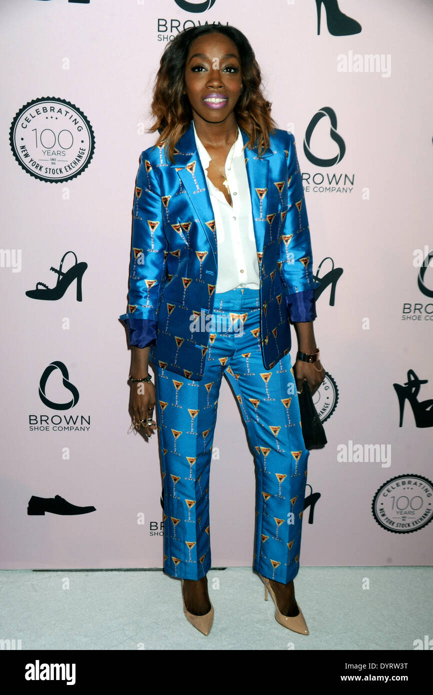Estelle attends the Brown Shoe Company Celebrates 100 Years on New York Stock Exchange event at 4 World Trade Center on April 23, 2014 in New York City - Stock Image