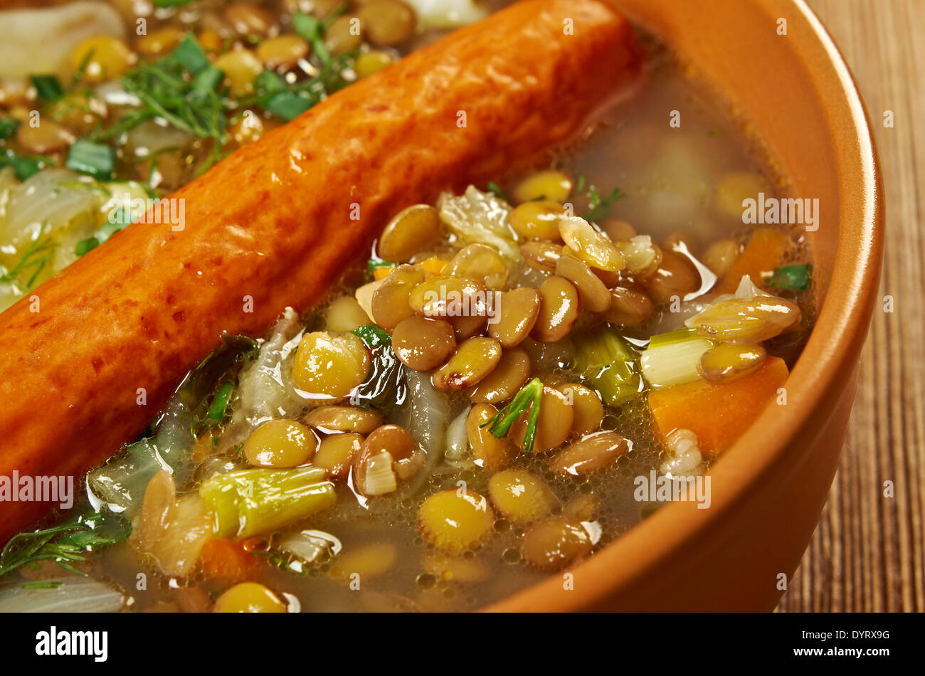 Frankfurter Linsensuppe -German Lentil Soup with sausage.farmhouse kitchen Stock Photo