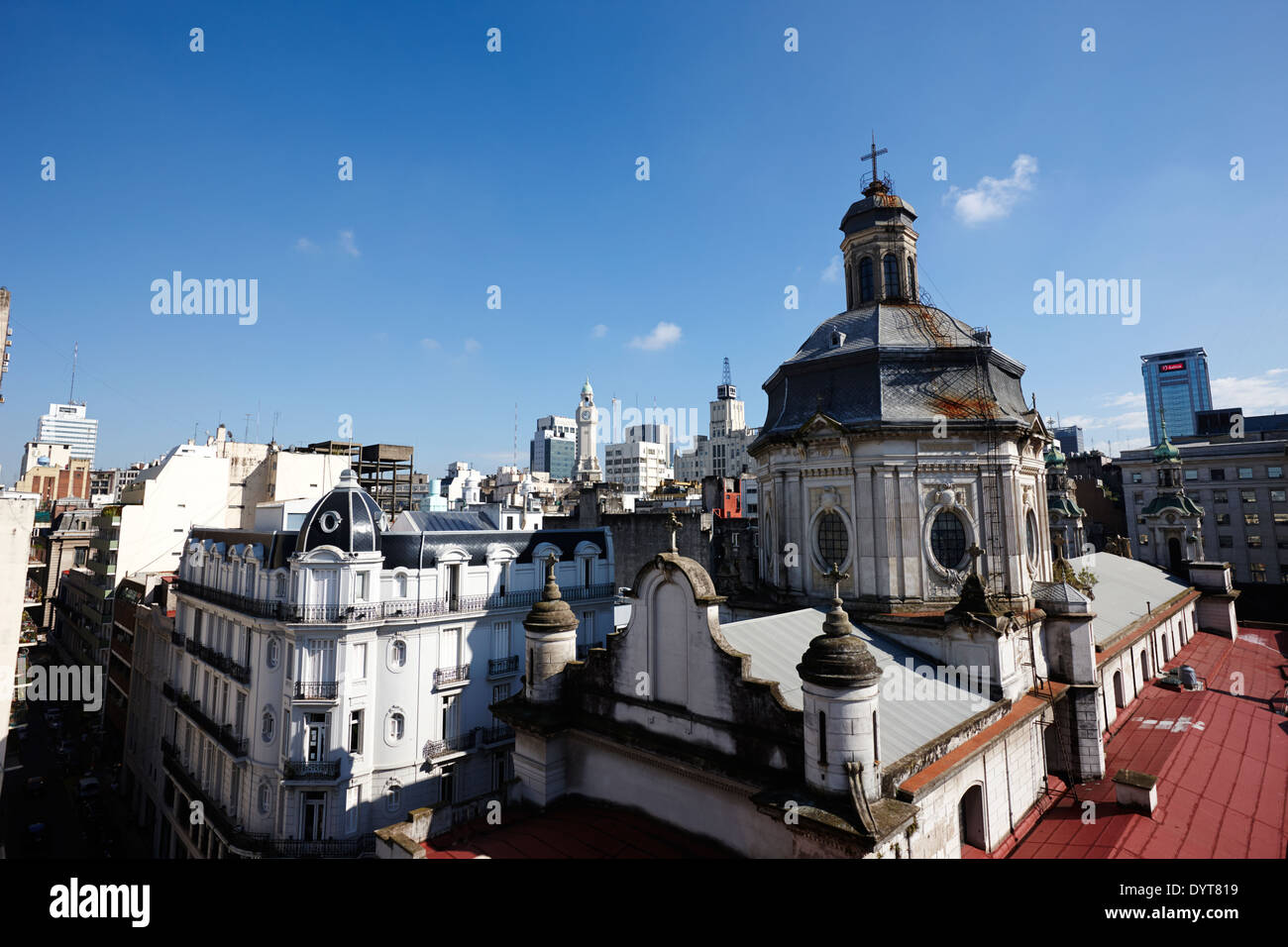 overlooking rooftops in monserrat looking towards san francisco church Buenos Aires Argentina - Stock Image