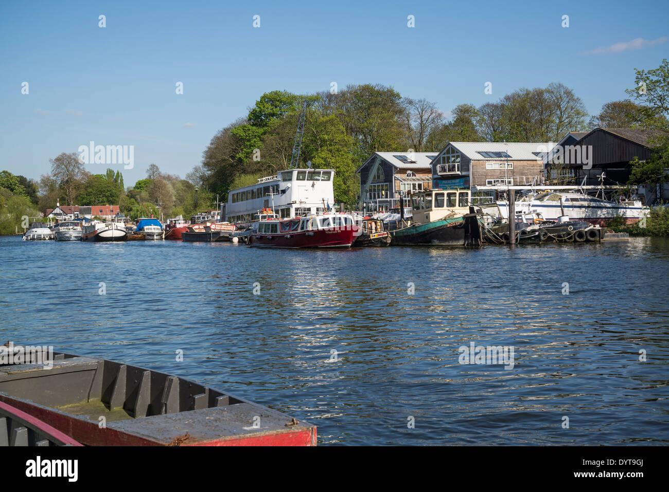 Boatyard on the river Thames at Twickenham, London, UK - Stock Image