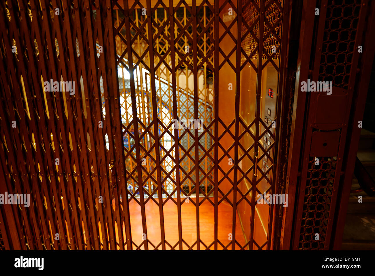 old metal cage elevator in art deco building Buenos Aires Argentina - Stock Image