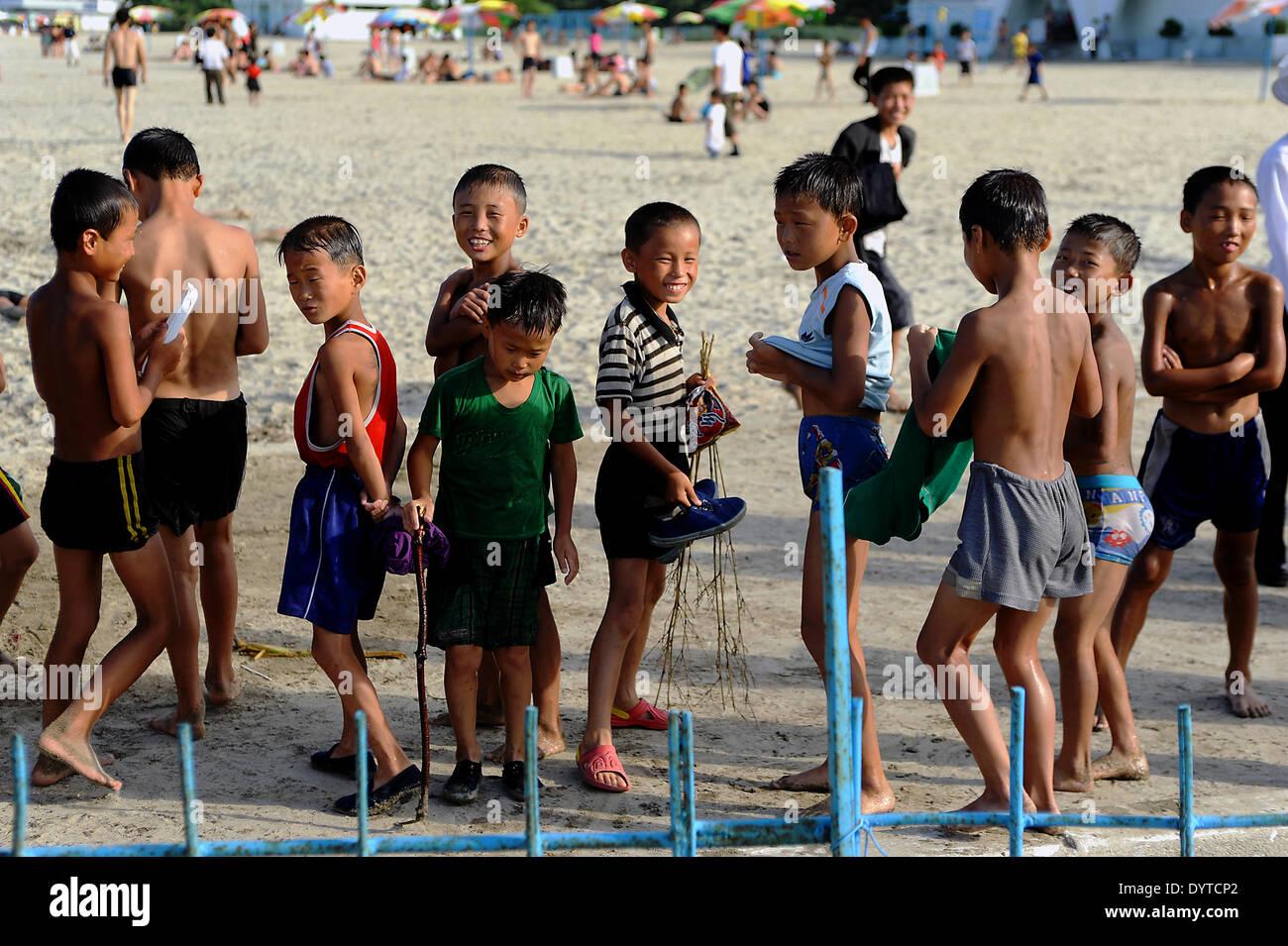 Kids on the beach - Stock Image