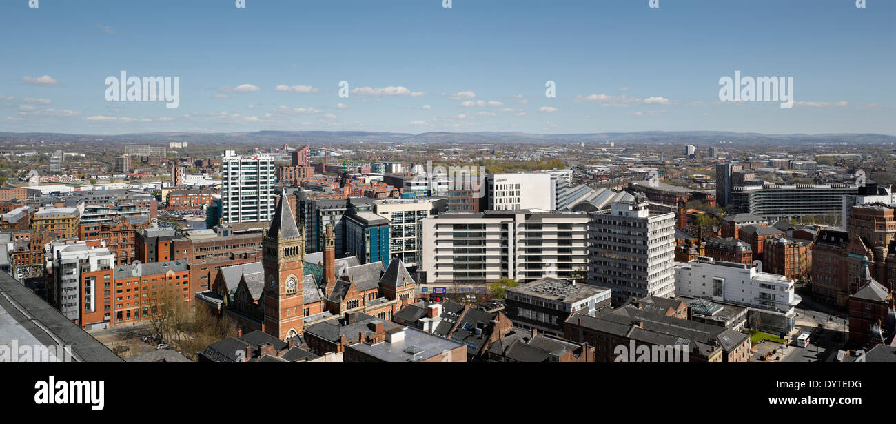 View over the city of Manchester, Greater Manchester with Piccadilly station in the centre - Stock Image