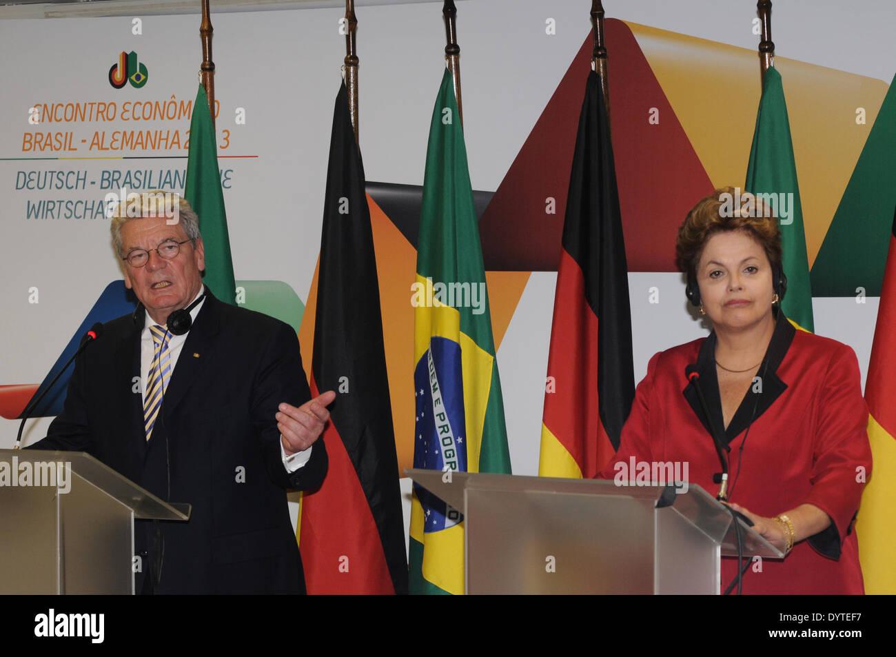 Dilma Rousseff and Joachim Gauck in Sao Paulo - Stock Image