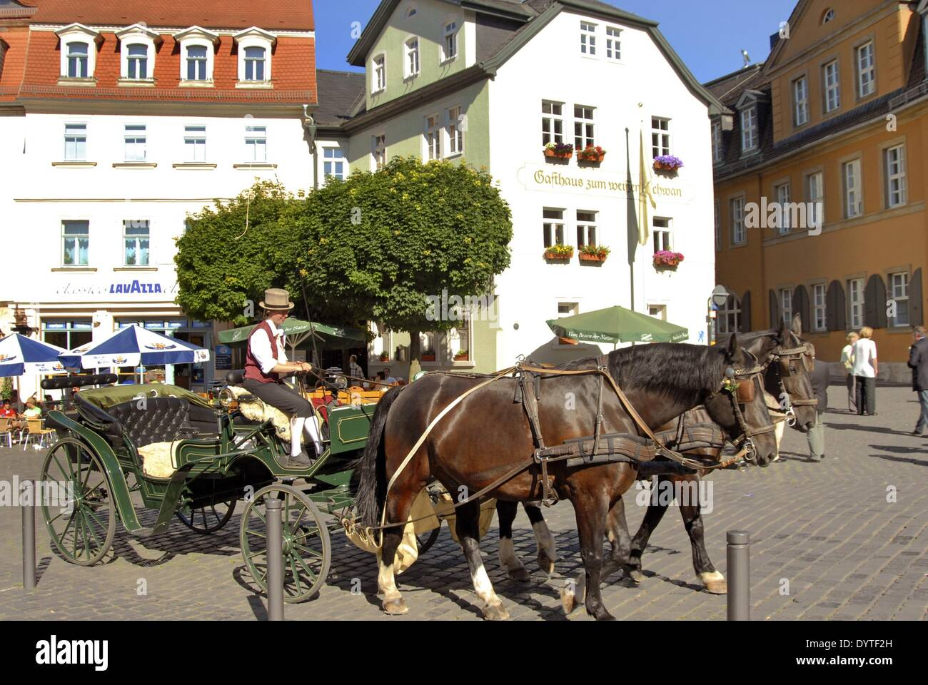 Coachman in the marketplace of Weimar, 2006 - Stock Image