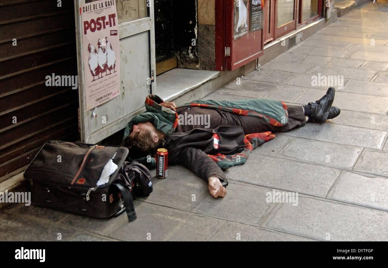 A tramp in Paris, 2005 - Stock Image