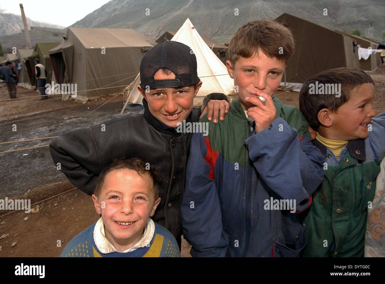 Refugees from Kosovo in Albania (April 1999) Stock Photo