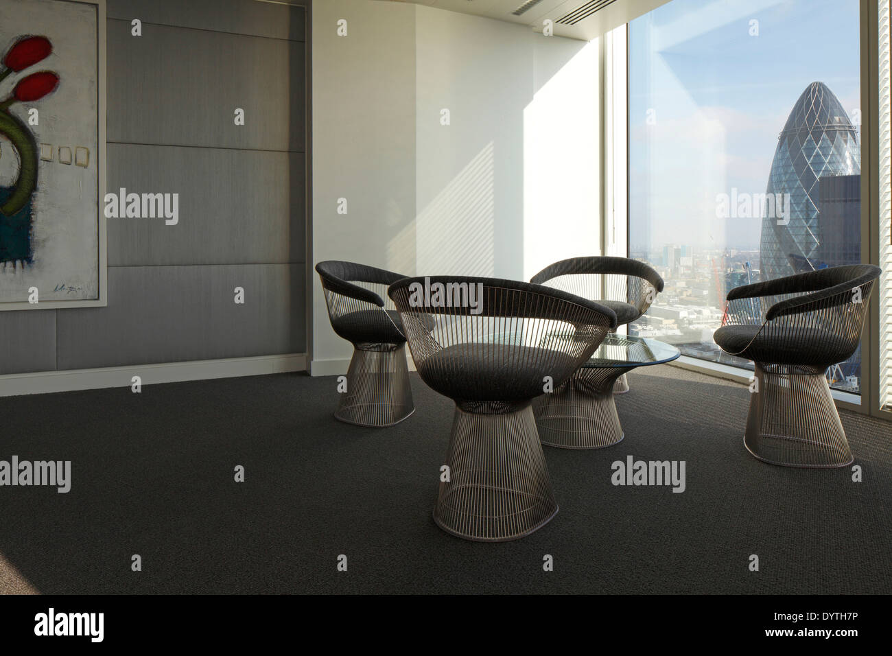 platner furniture. Warren Platner Chairs And Table In Corner Of Office With View The Gherkin, London Furniture