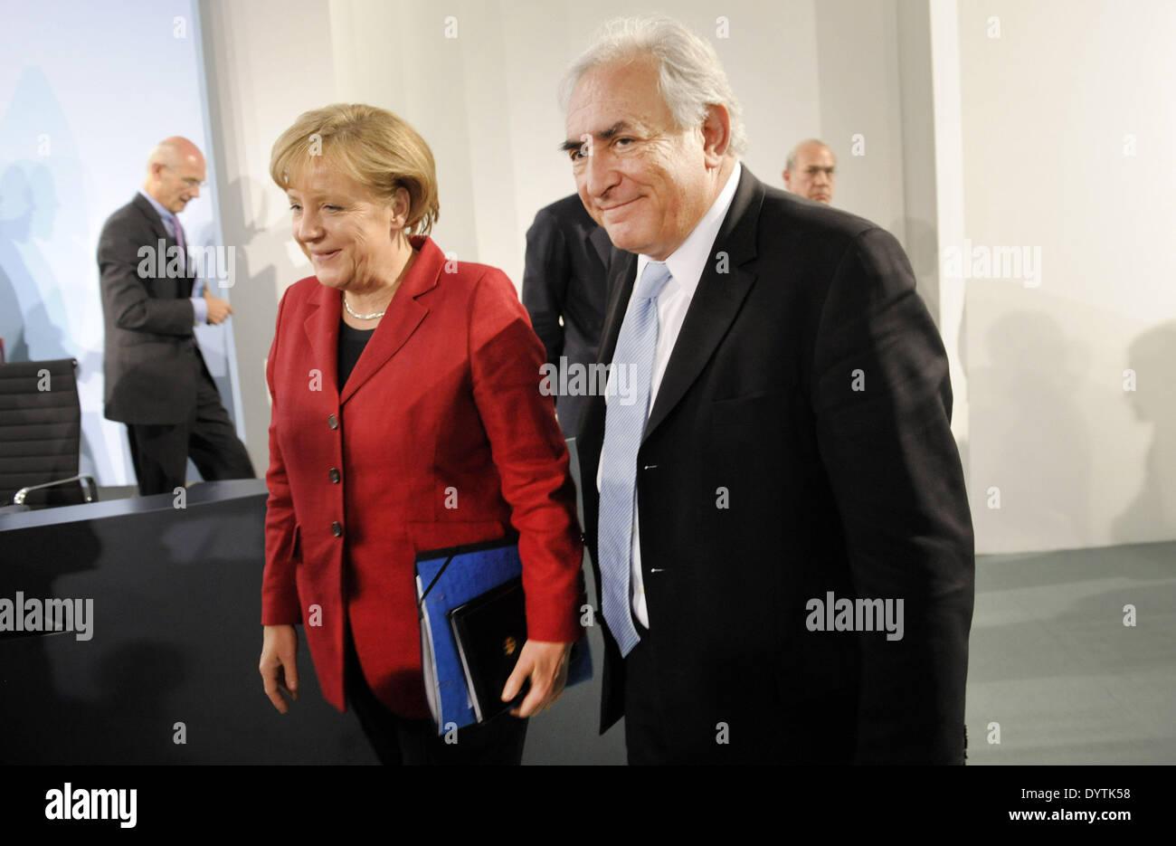 Merkel and Strauss-Kahn Stock Photo