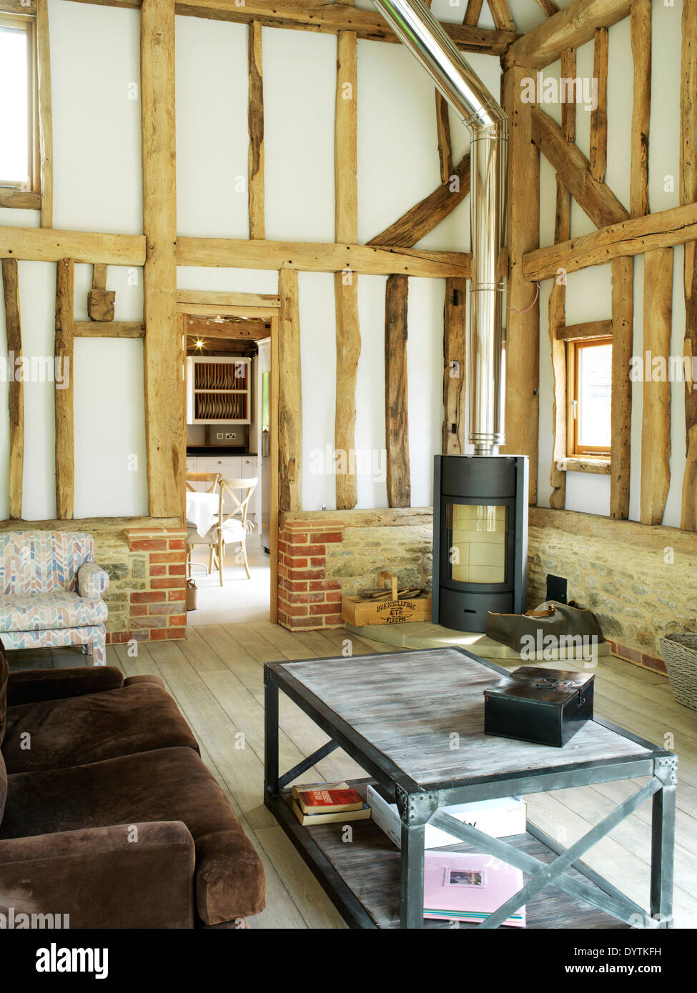 country sitting room in barn conversion stock photos country sitting room in barn conversion. Black Bedroom Furniture Sets. Home Design Ideas
