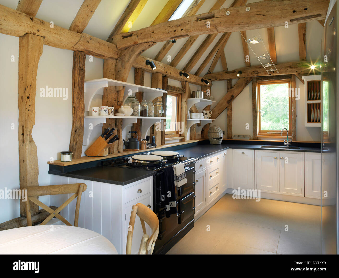 Modern Kitchen In Barn Conversion With Exposed Beams, Field Place Barns,  Surrey