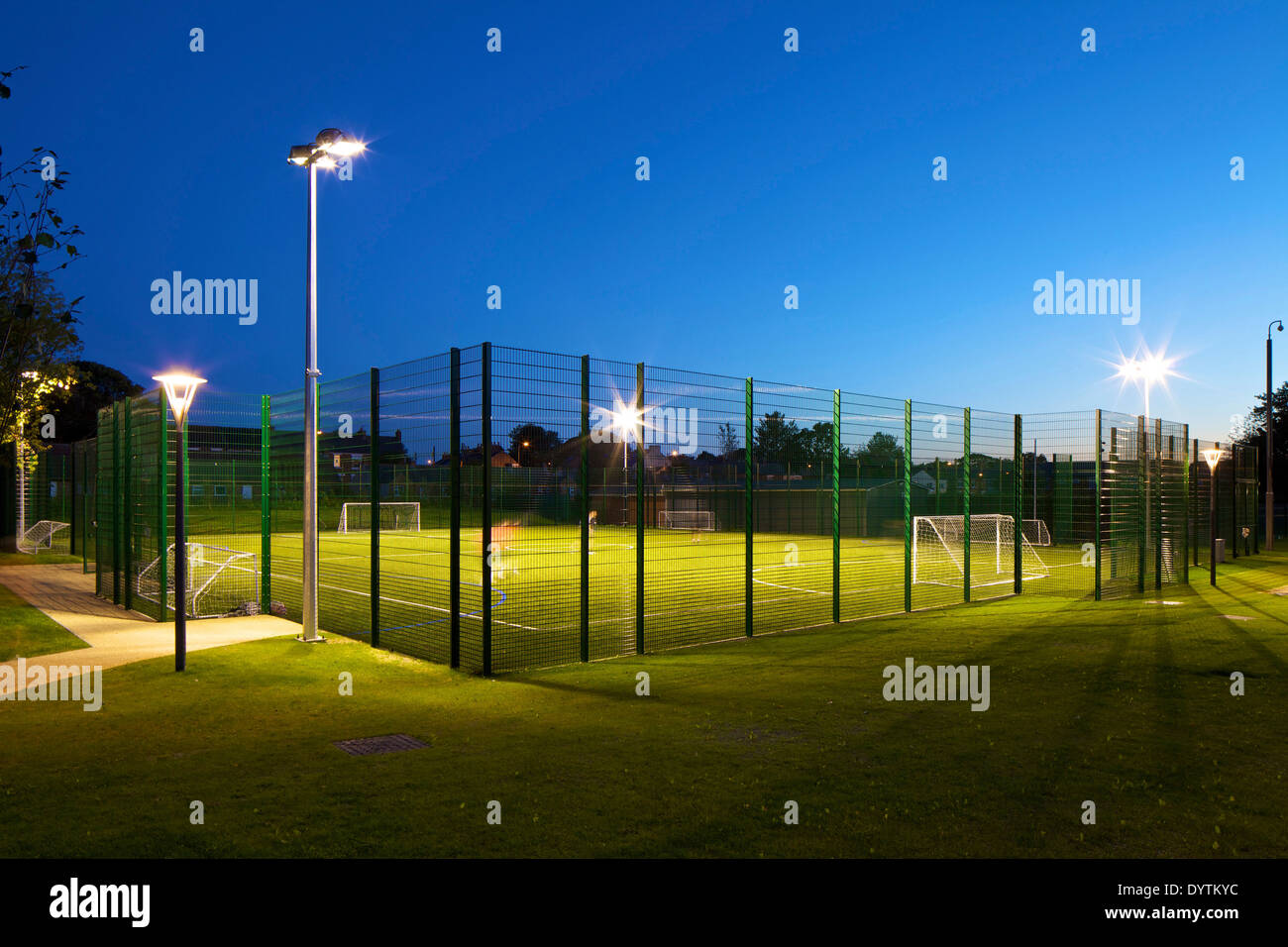 Floodlit football pitch, Houghton Primary Care Centre, Houghton-le-Spring - Stock Image