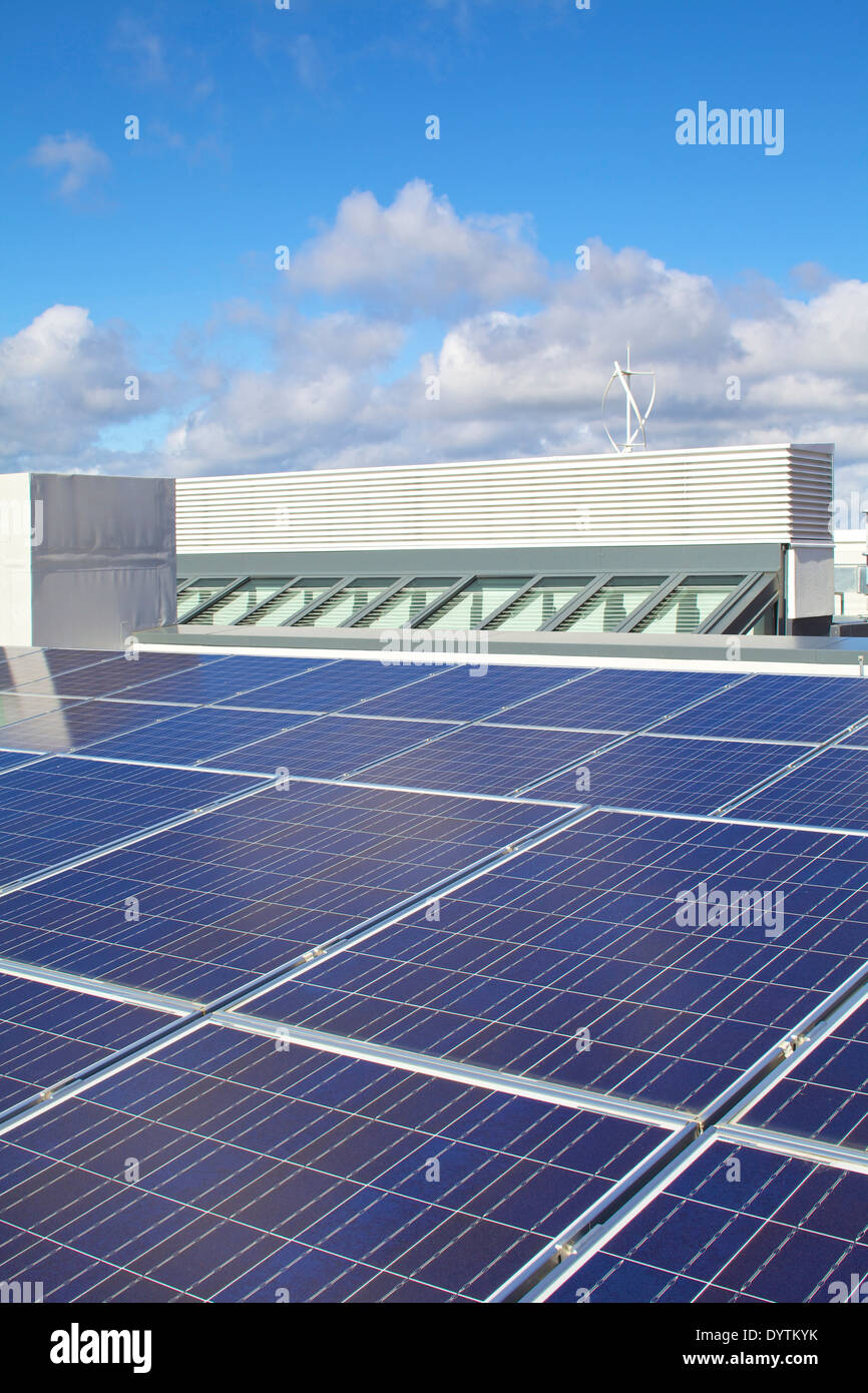 Solar panels on the roof of Houghton Primary Care Centre, Houghton-le-Spring - Stock Image