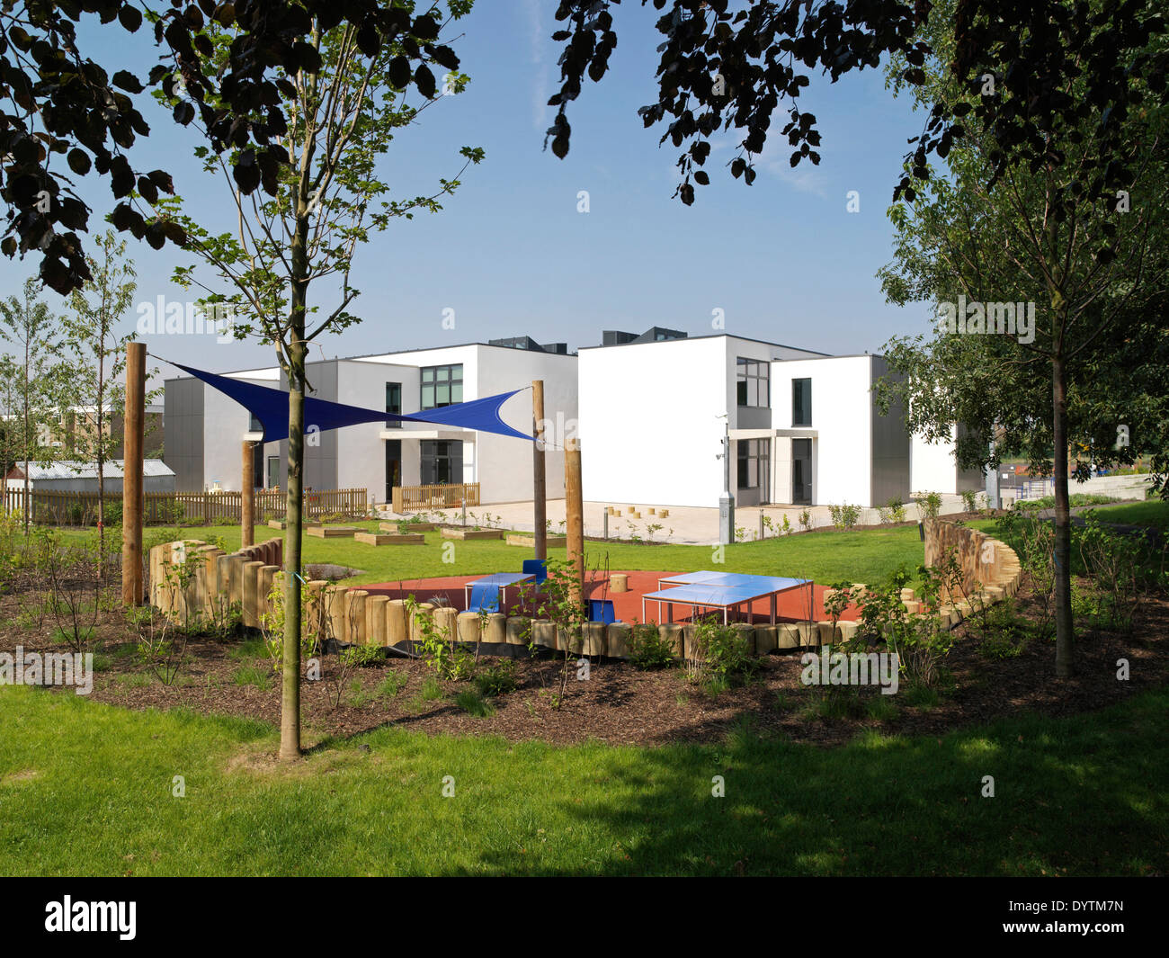 Play area in front of Havering Edwin Lambert Primary School Havering, London Stock Photo