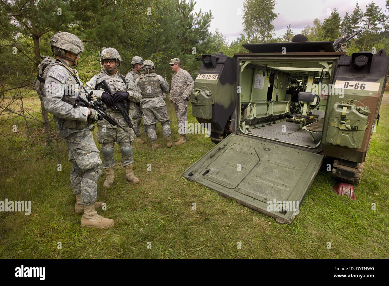 An armored personnel carrier of the U. S. Army - Stock Image