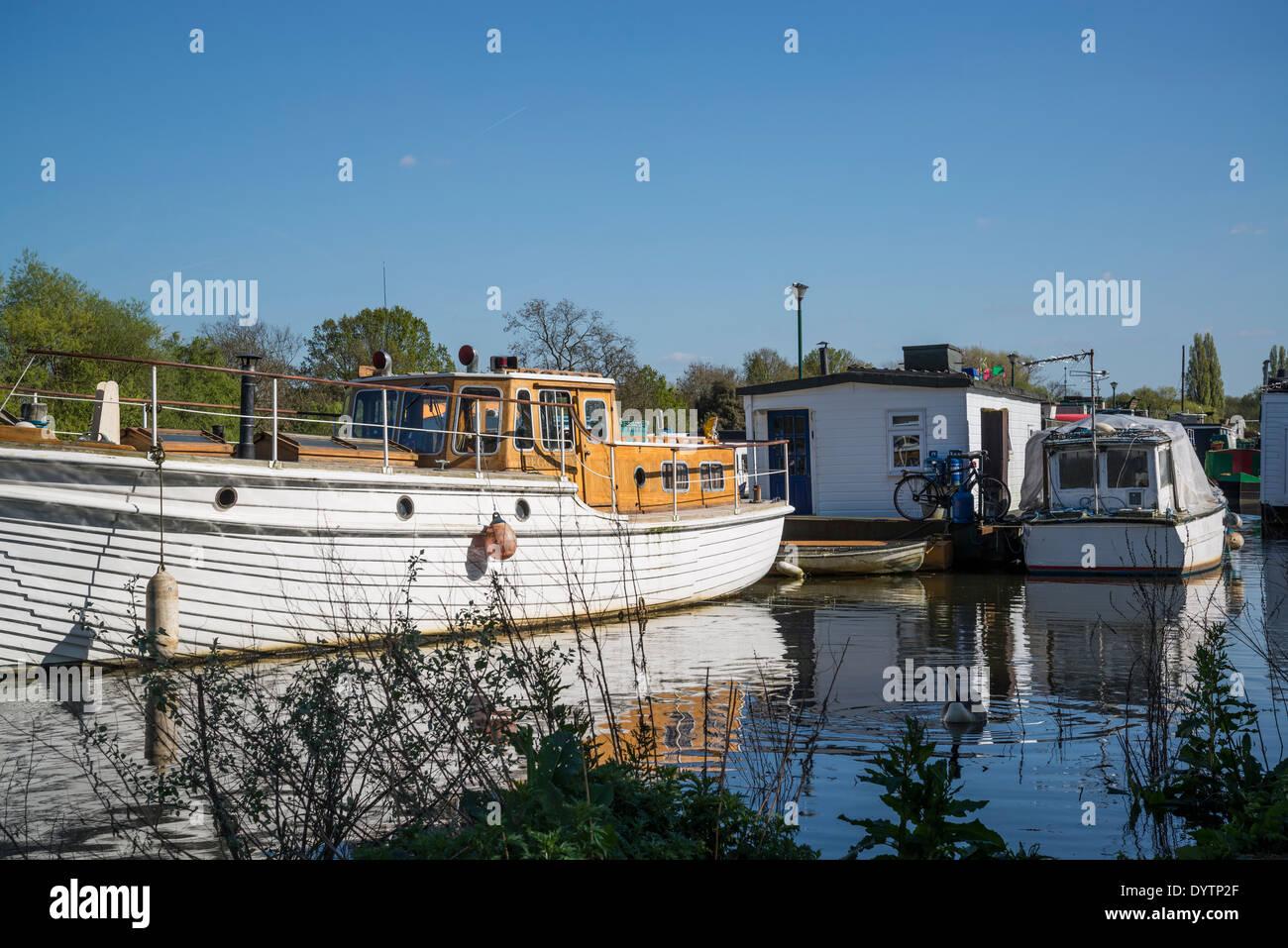 Boatyard on the river Thames, Borough of Richmond, London, UK Stock Photo