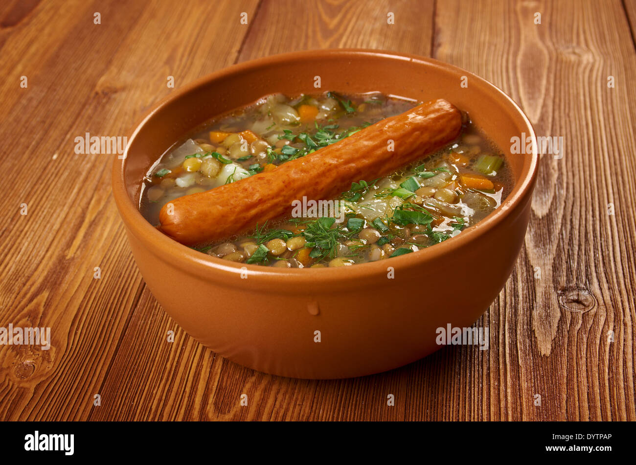 Frankfurter Linsensuppe -German Lentil Soup with sausage.farmhouse kitchen Stock Photo
