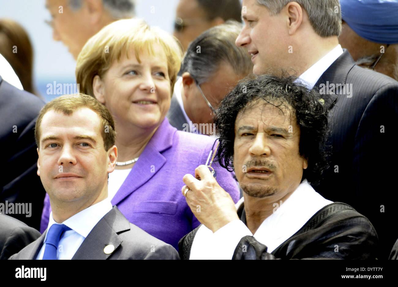 Medvedev, Merkel, Gaddafi, Harper - Stock Image
