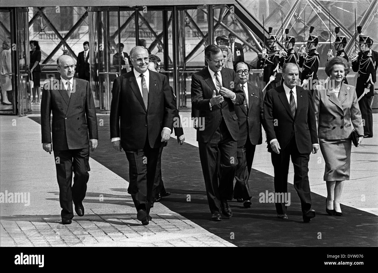 Delors, Kohl, Bush, Uno, Mitterrand and Thatcher - Stock Image
