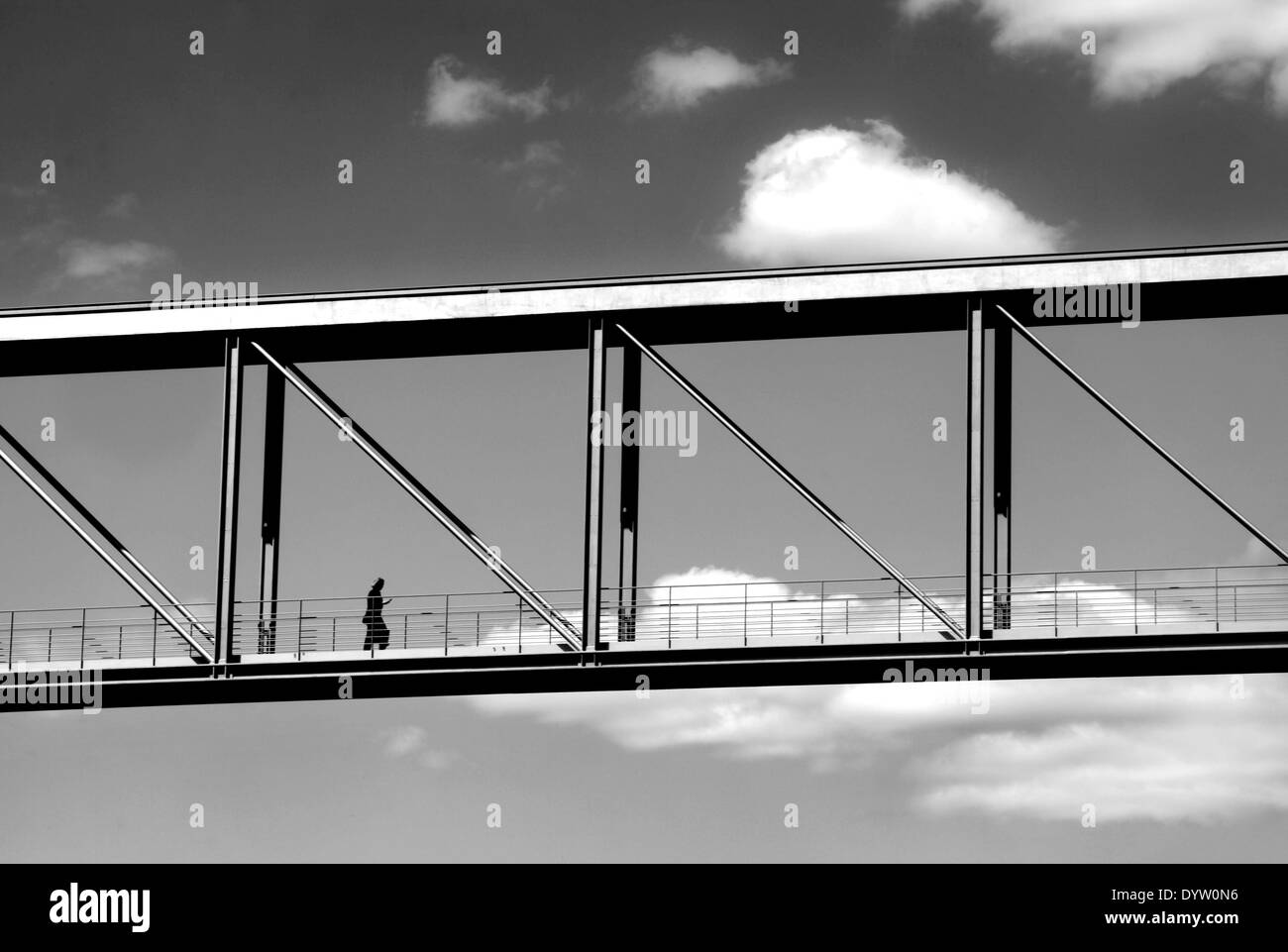 Lonely Woman Walking Over Bridge Stock Photos & Lonely ...