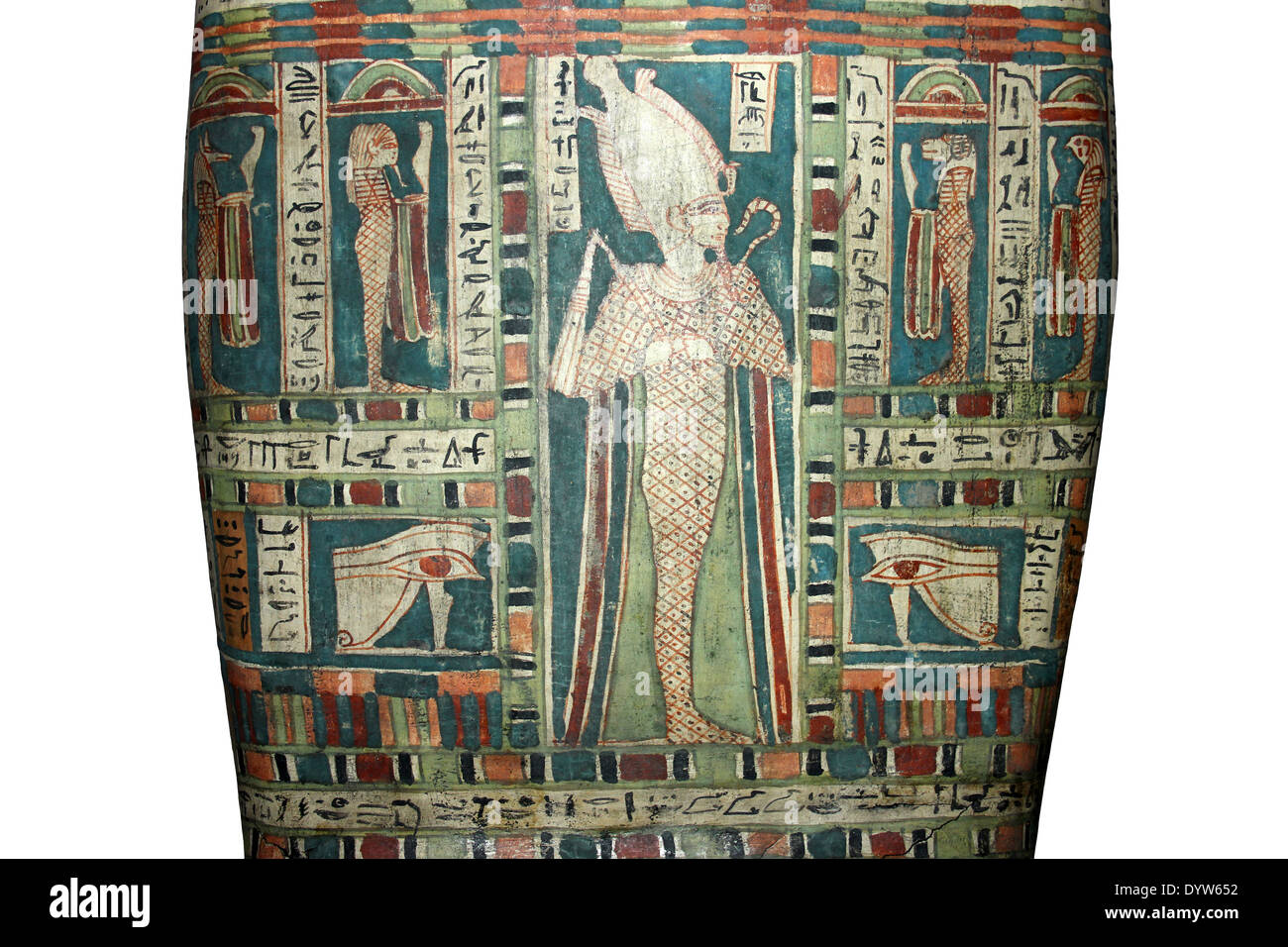Painted Detail On The Lid Of An Egyptian Sarcophagus - Stock Image