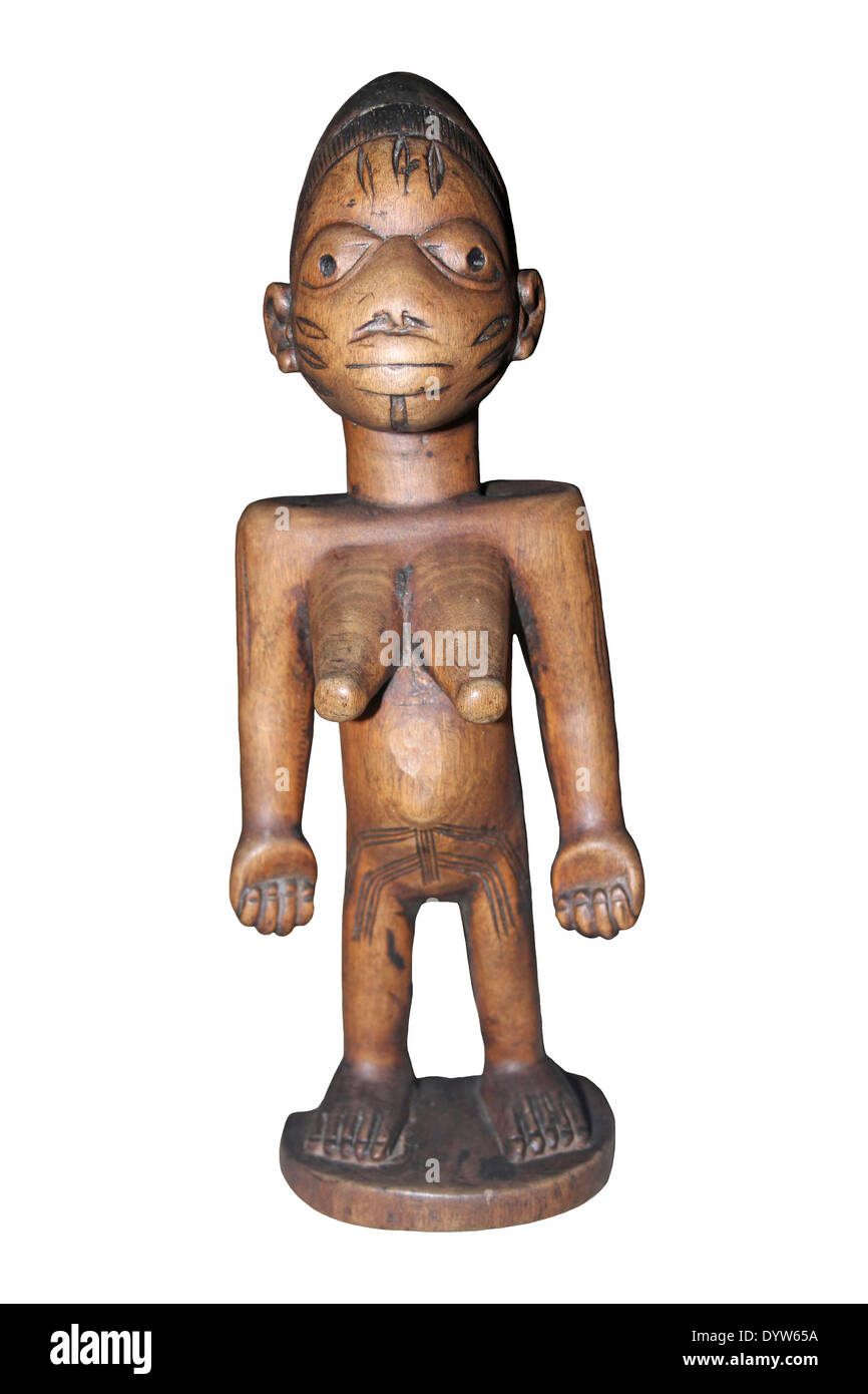 Female Ibeji Figure, Yoruba People, Abeokuta, Nigeria c1900 - Stock Image