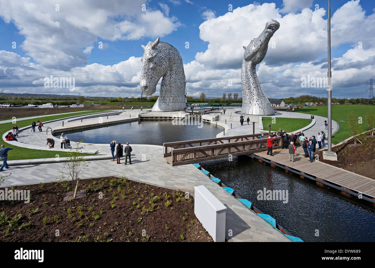 The Kelpies at The Helix beside the entrance to the Forth & Clyde canal from River Carron Falkirk Scotland - Stock Image