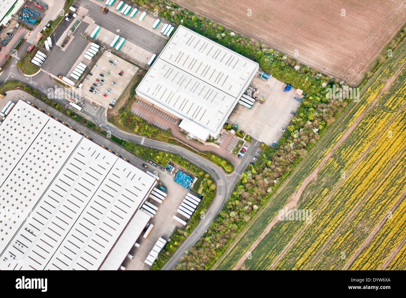 Aerial view of a group of warehouses in Cambridgeshire, UK Stock Photo