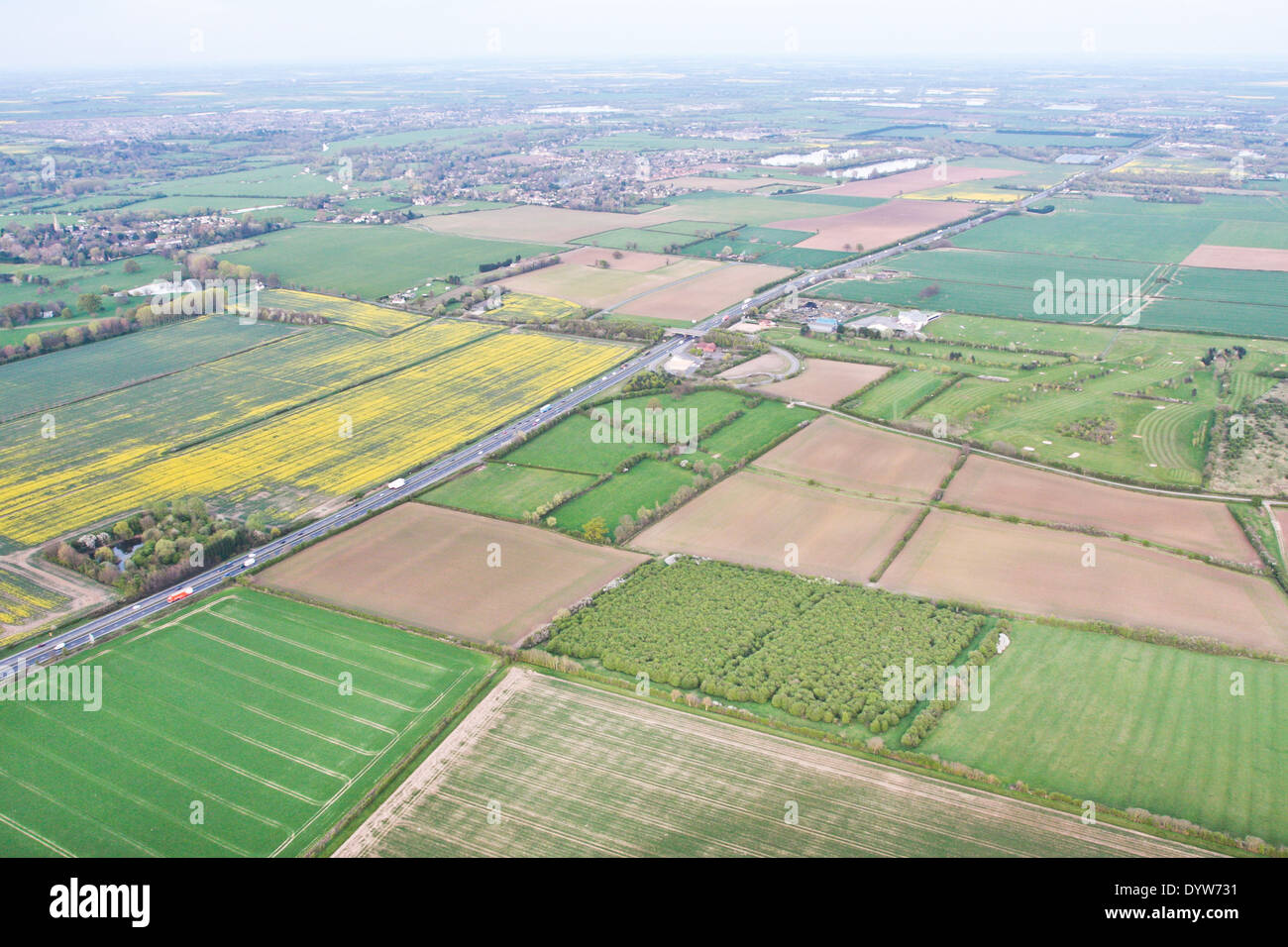 Rural Cambridgeshire from above with A14 trunk road and Hemingford Grey in the centre of the image - Stock Image