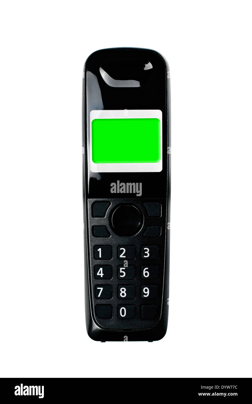 Wireless phone. Cordless phone with green screen display isolated on white background. - Stock Image