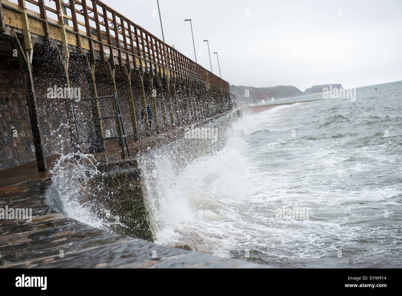 Sea defences below the newly re-opened railway line and station in Dawlish, Devon - Stock Image